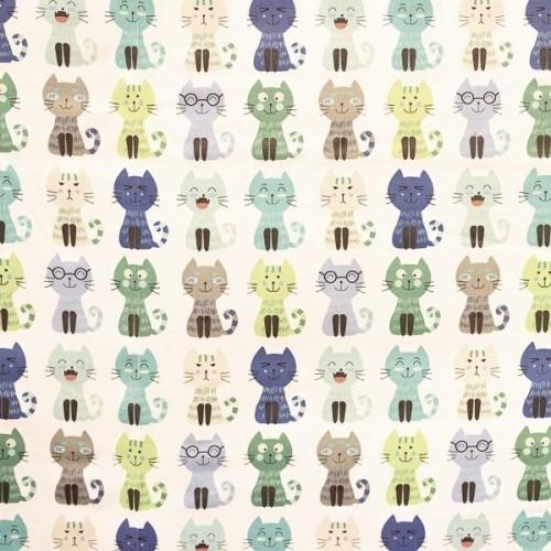 Tecido Gatos Azul