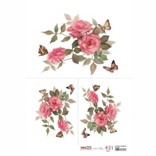 Opapel Flor Rosas e Borboletas